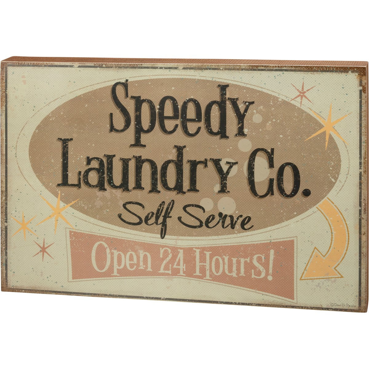"Box Sign - Speedy Laundry Co. Self Serve - 24"" x 16.25"" x 1.75"" - Wood, Paper"