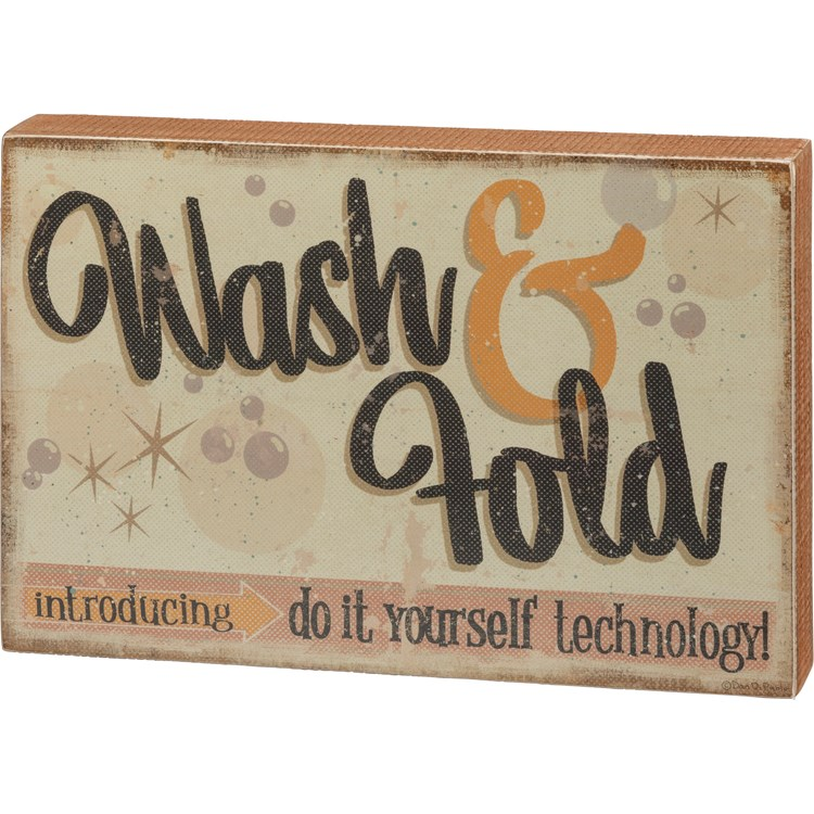 "Box Sign - Wash & Fold Do It Yourself Technology - 12"" x 8"" x 1.75"" - Wood, Paper"