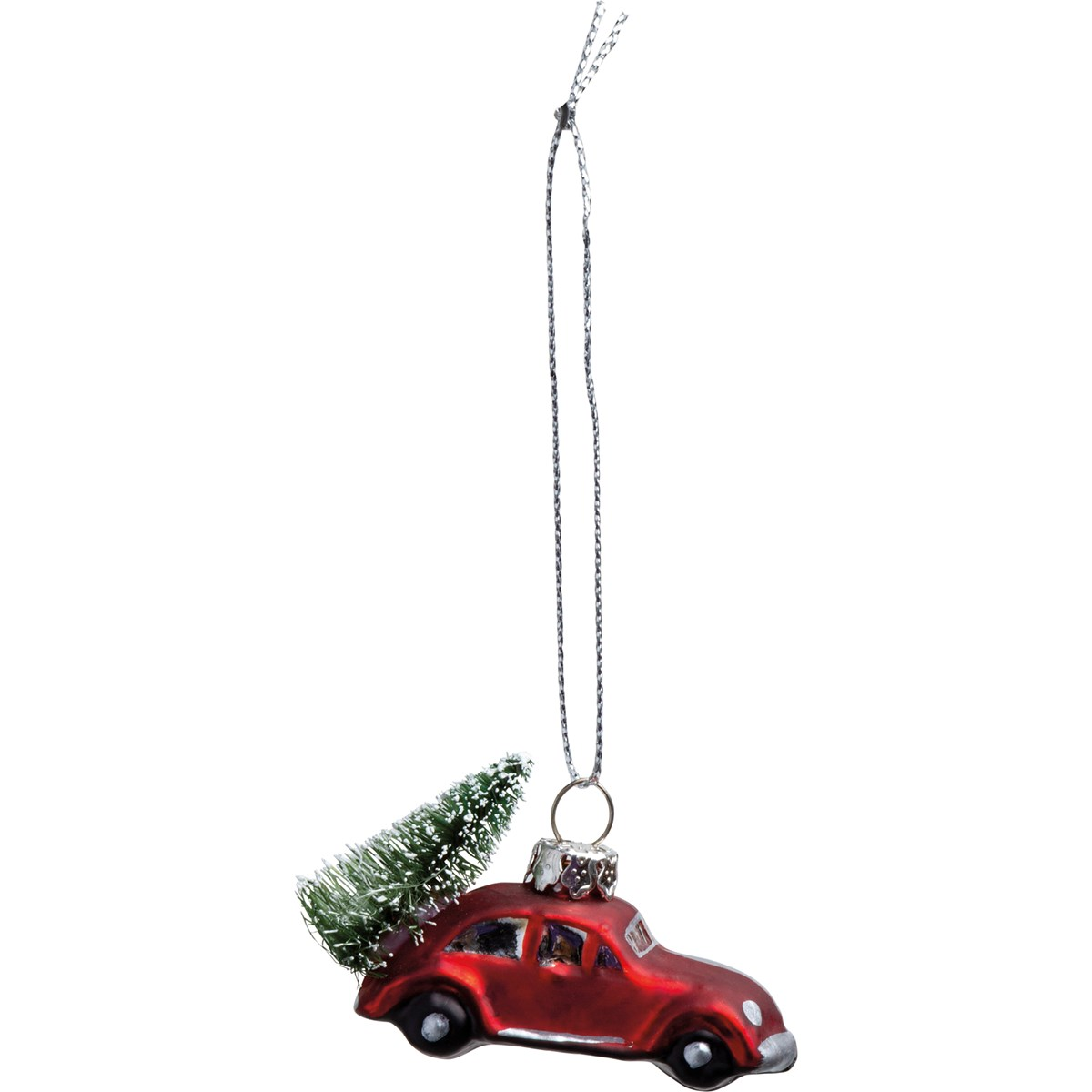 "Glass Ornament - Red Car Tree - 2.75"" x 1.75"" x 1"" - Glass, Metal, Bristle"