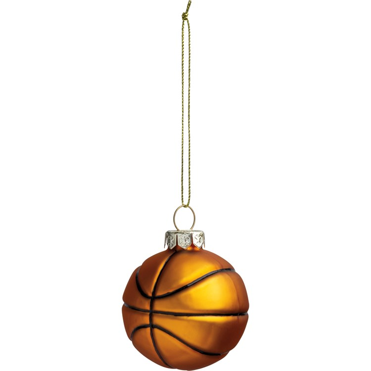 "Glass Ornament - Basketball - 2"" Diameter x 3"" - Glass, Metal"