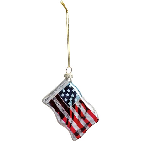 "Glass Ornament - American Flag - 3.25"" x 2.75"" x 0.75"" - Glass, Metal, Glitter"