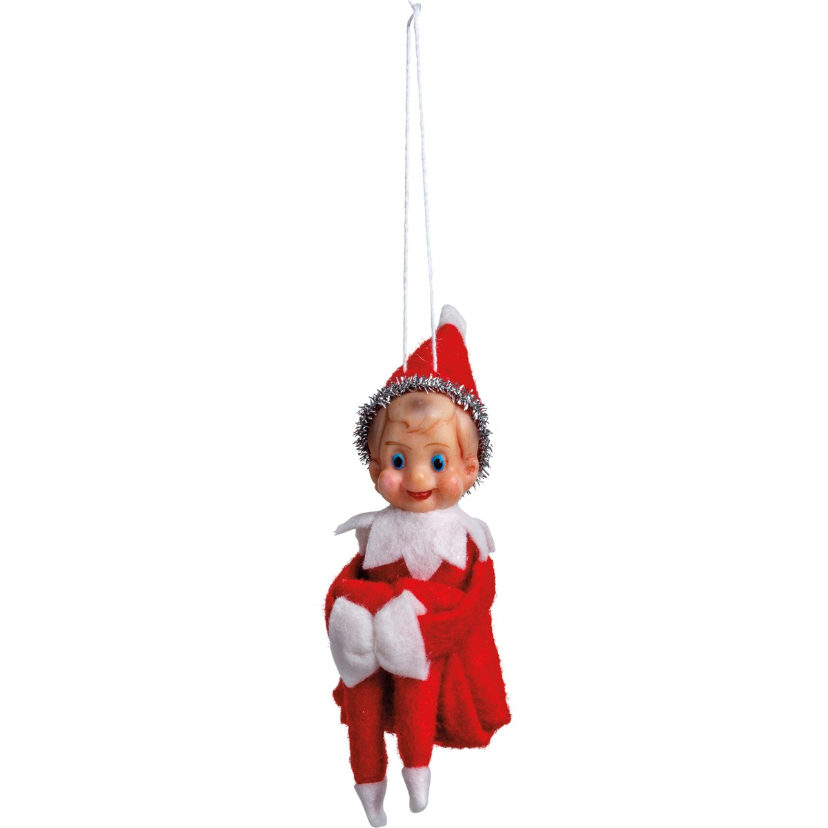 "Ornament - Elf - 1.75"" x 5.25"" x 2"" - Felt, Plastic, Wire, Tinsel"