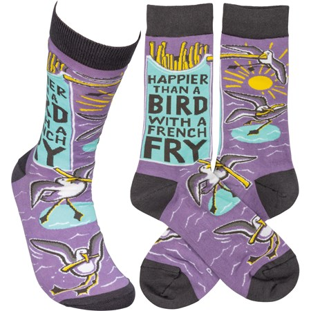 Socks - Happier Than A Bird With A French Fry - One Size Fits Most - Cotton, Nylon, Spandex