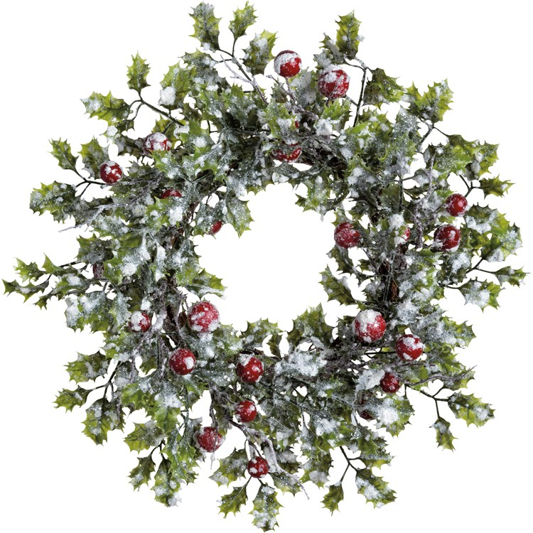 "Wreath - Holly - 20"" Outside Diameter - Plastic, Natural Foliage, Mica"