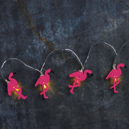 "String Lights - Flamingo - 56"" Long, 10 Lights, 11"" Cord - Metal, Wire, Plastic, Cord"