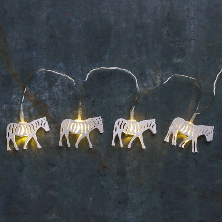 "String Lights - Zebras - 56"" Long, 10 Lights, 11"" Cord - Metal, Wire, Plastic, Cord"