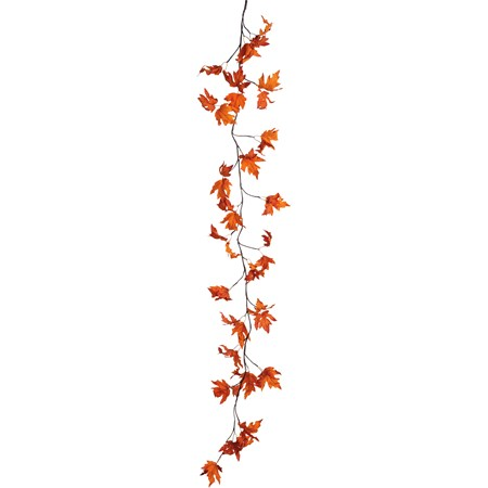 "Garland - Fall Maple Leaves - 80"" Long, 24 Lights - Wire, Fabric, Plastic, Cord, Lights"