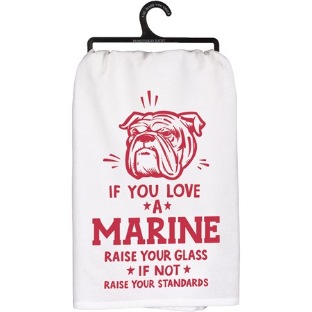 "Dish Towel - Love A Marine - 28"" x 28"" - Cotton"