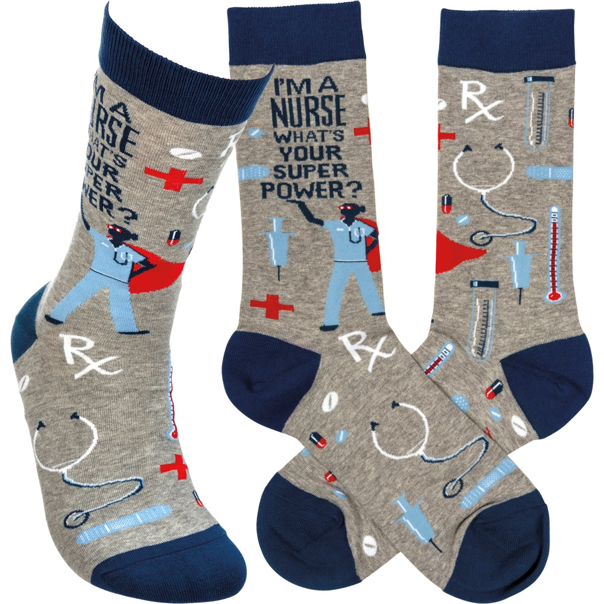 Socks - I'm A Nurse What's Your Super Power - One Size Fits Most - Cotton, Nylon, Spandex