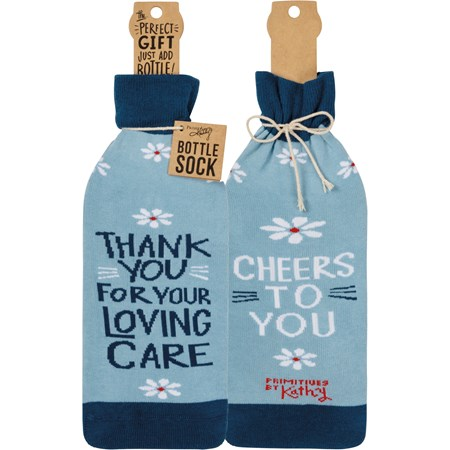 "Bottle Sock - Thank You Cheers To You - 3.50"" x 11.25"", Fits 750mL to 1.5L bottles - Cotton, Nylon, Spandex"