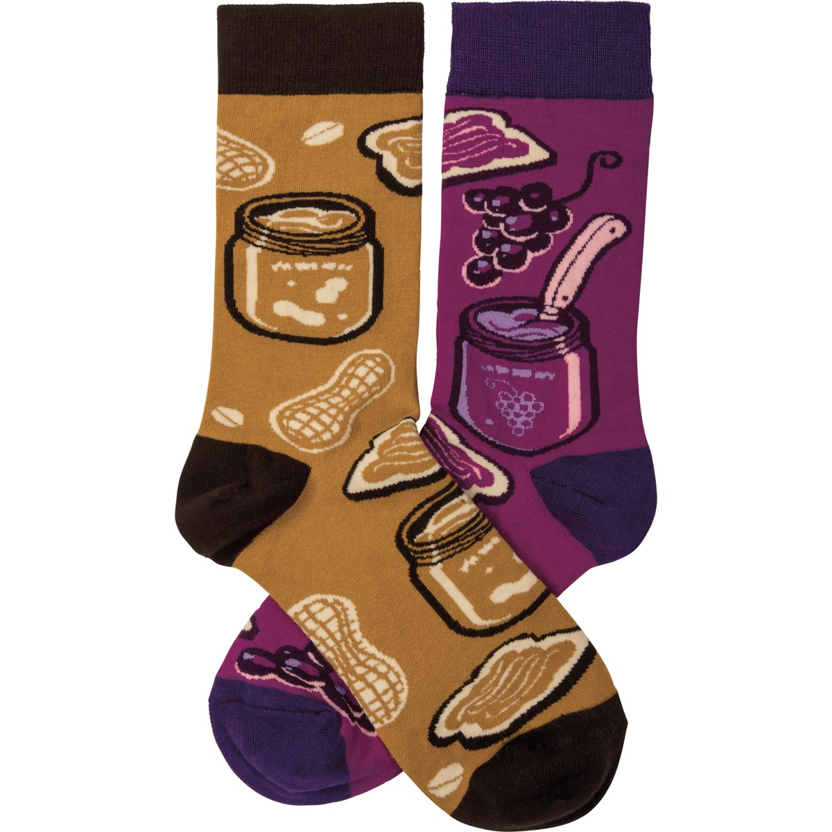 Socks - Peanut Butter & Jelly - One Size Fits Most - Cotton, Nylon, Spandex