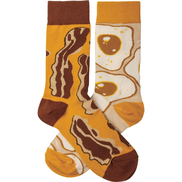 Socks - Bacon & Eggs - One Size Fits Most - Cotton, Nylon, Spandex