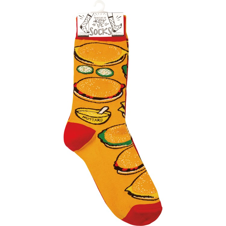 Socks - Burgers & Fries - One Size Fits Most - Cotton, Nylon, Spandex