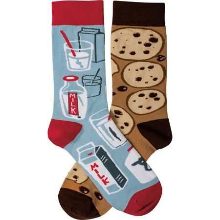 Socks - Milk & Cookies - One Size Fits Most - Cotton, Nylon, Spandex