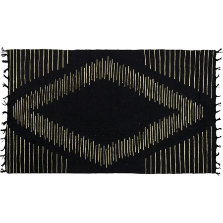 "Rug - Black Diamond - 34"" x 20"" - Cotton"