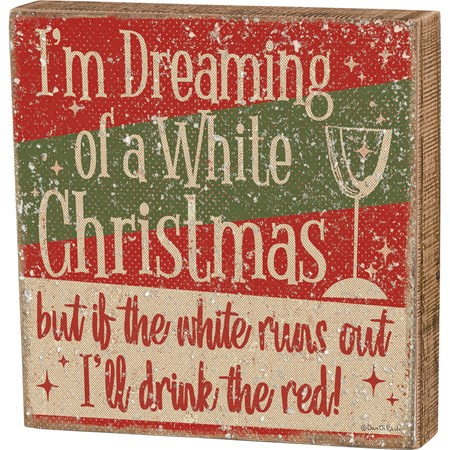 "Box Sign - White Christmas - 8"" x 8"" x 1.75"" - Wood, Paper, Mica"