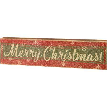 "Box Sign - Merry Christmas - 20"" x 5"" x 1.75"" - Wood, Paper, Mica"