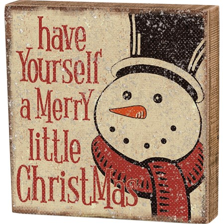 "Box Sign - Have Yourself A Merry Little Christmas - 8"" x 8"" x 1.75"" - Wood, Paper, Mica"