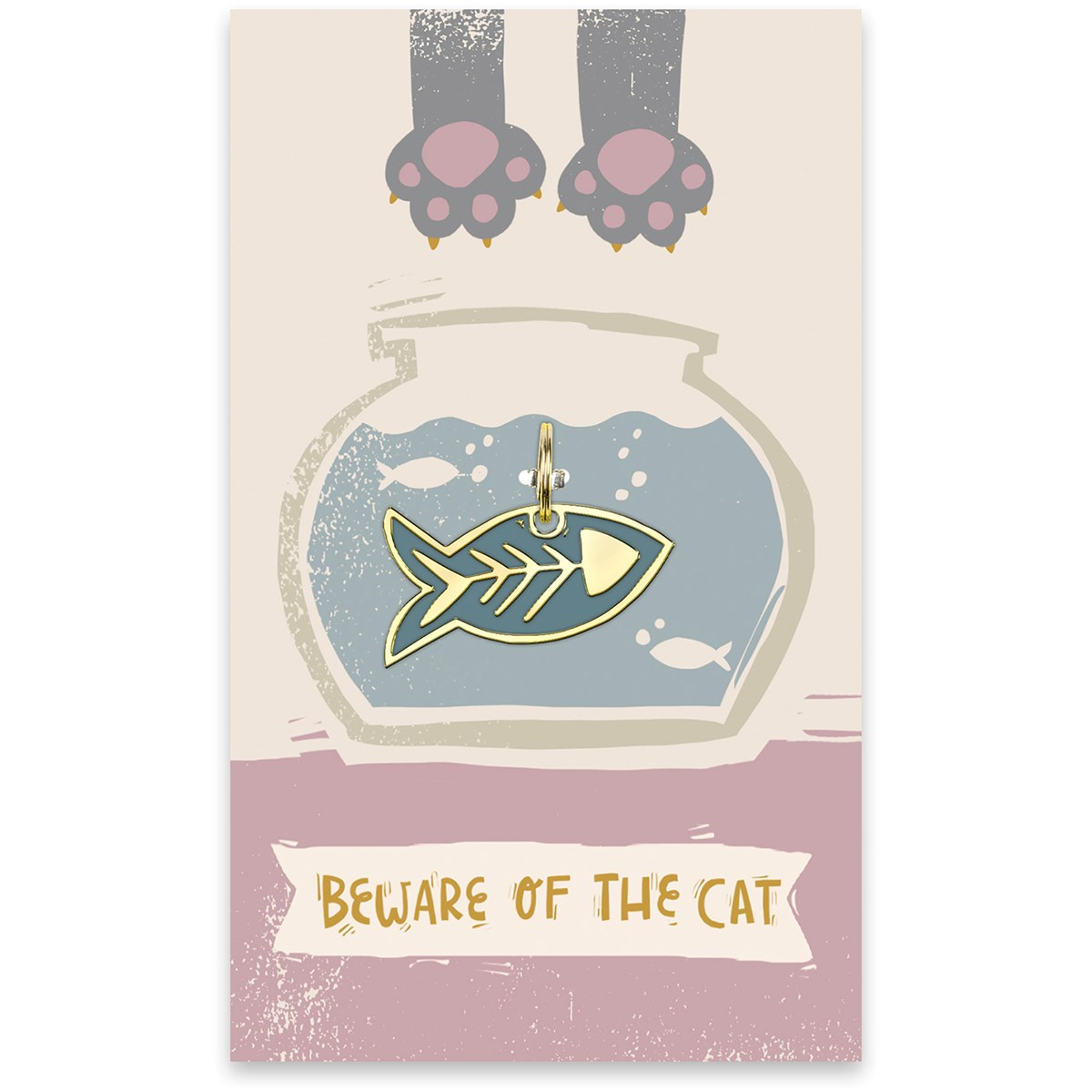 "Collar Charm - Beware Of The Cat - Charm: 1.50"" x 0.75"", Card: 3"" x 5"" - Metal, Enamel, Paper"