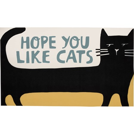 "Rug - Hope You Like Cats - 34"" x 20"" - Polyester, PVC"