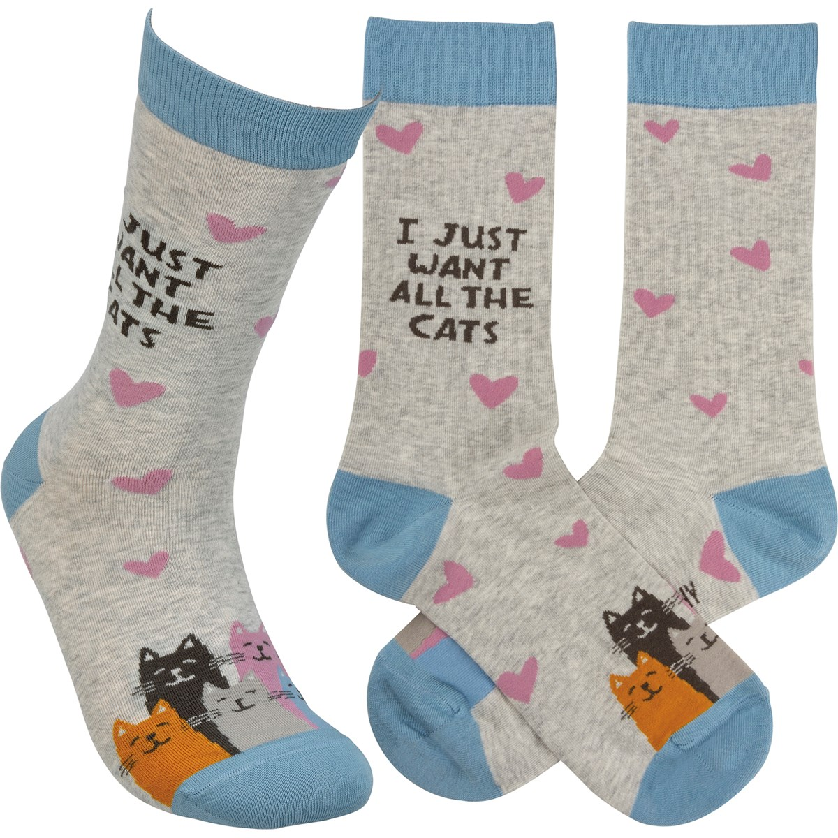Socks - I Just Want All The Cats - One Size Fits Most - Cotton, Nylon, Spandex