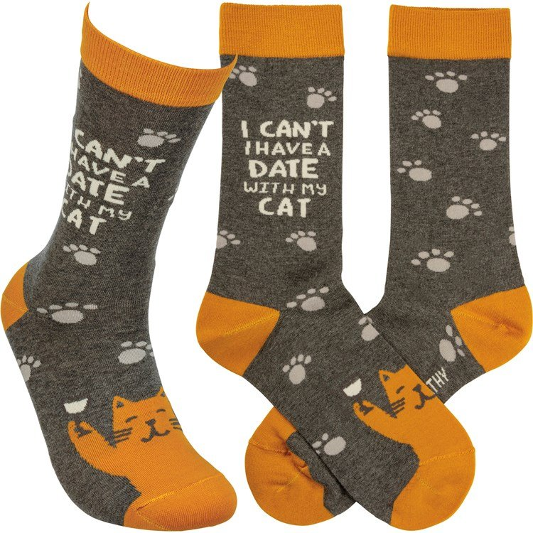 Socks - Date With My Cat - One Size Fits Most - Cotton, Nylon, Spandex