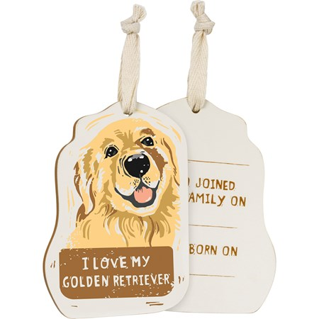 "Ornament - I Love My Golden Retriever - 3.25"" x 4.50"" x 0.25"" - Wood, Fabric"