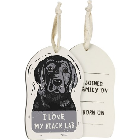 "Ornament - I Love My Black Lab - 3"" x 4.50"" x 0.25"" - Wood, Fabric"