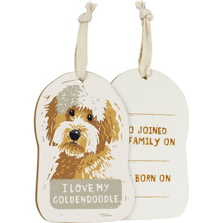 "Ornament - I Love My Goldendoodle - 3"" x 4.50"" x 0.25"" - Wood, Fabric"