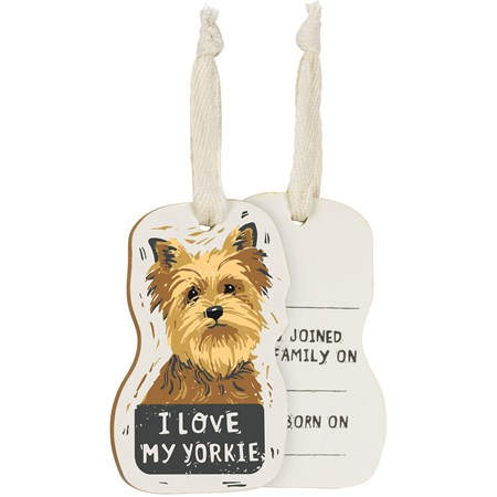 "Ornament - I Love My Yorkie - 2.25"" x 3.50"" x 0.25"" - Wood, Fabric"