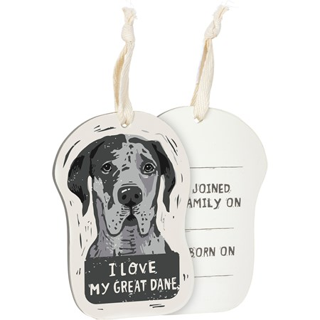 "Ornament - I Love My Great Dane - 3.25"" x 4.50"" x 0.25"" - Wood, Fabric"