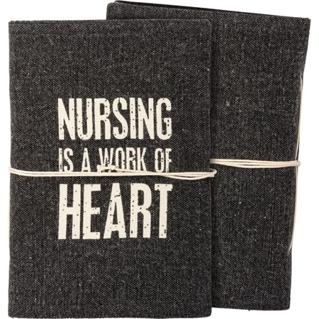 "Journal - Nursing Is A Work Of Heart - 5"" x 7"" x 1"" - Canvas, Paper"