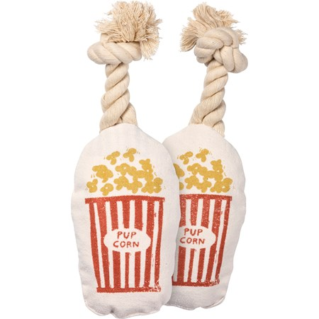 "Dog Toy - Pup Corn - 3.75"" x 6.25"" x 2"" - Canvas, Rope"