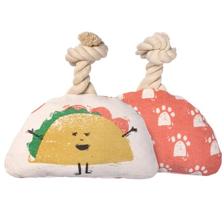 "Dog Toy - Taco - 7.50"" x 4.50"" x 2"" - Canvas, Rope"