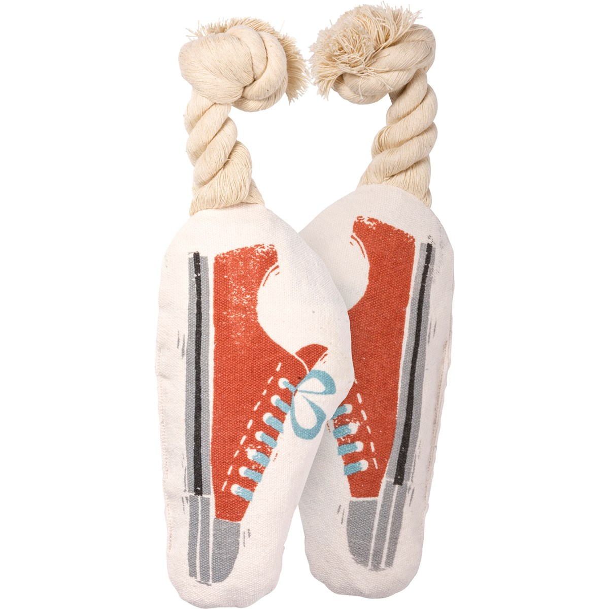 "Dog Toy - Sneaker - 3.75"" x 7.25"" x 2"" - Canvas, Rope"