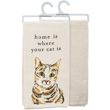 "Dish Towel - Home Is Where Your Cat Is - 20"" x 26"" - Cotton, Linen"