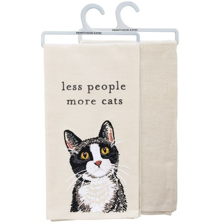 "Dish Towel - Less People More Cats - 20"" x 26"" - Cotton, Linen"