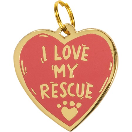 "Collar Charm - I Love My Rescue - Charm: 1.50"" x 1.50"", Card: 3"" x 5"" - Metal, Enamel, Paper"