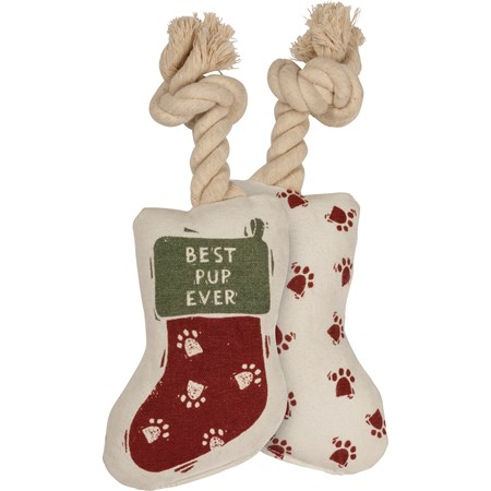 "Dog Toy - Stocking - Best Pup Ever - 4"" x 6"" x 2"" - Cotton, Rope"