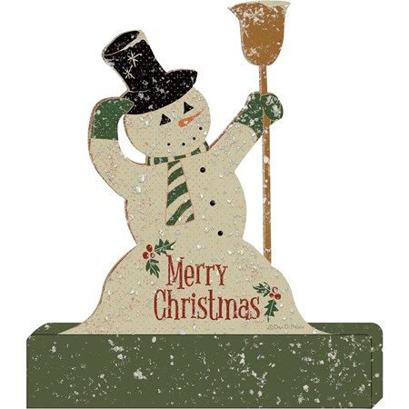 "Stand Up - Snowman - Merry Christmas - 5.25"" x 6.25"" x 1"" - Wood, Paper, Mica"