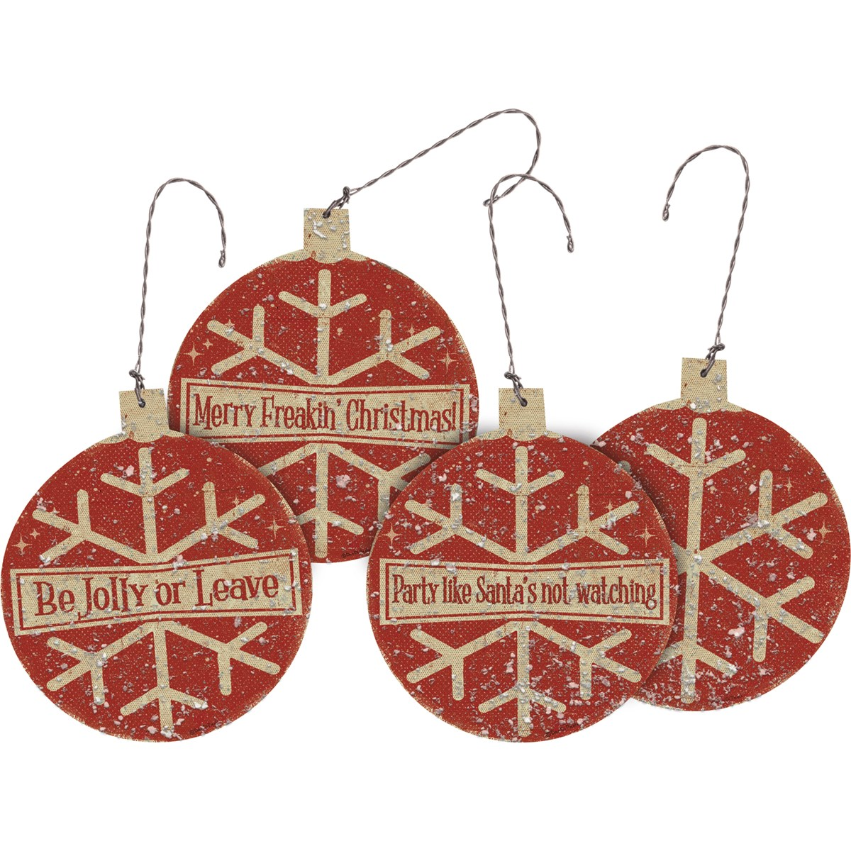"Ornament Set - Be Jolly - 3.50"" x 4"" x 0.25"" - Wood, Paper, Wire, Mica"