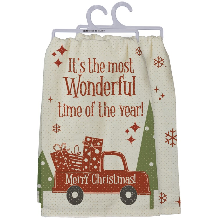 "Dish Towel - The Most Wonderful Time - 28"" x 28"" - Cotton"