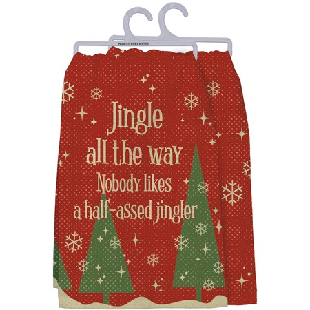 "Dish Towel - Jingle All The Way - 28"" x 28"" - Cotton"