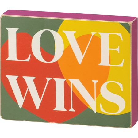 "Block Sign - Love Wins - 5"" x 4"" x 1"" - Wood"