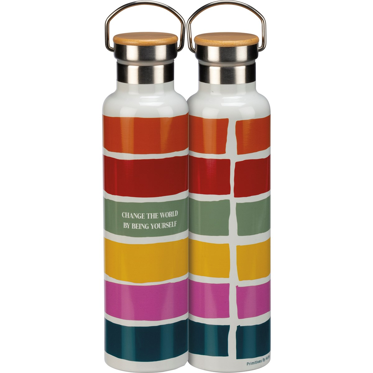 "Insulated Bottle - By Being Yourself - 25 oz., 2.75"" Diameter x 11.25"" - Stainless Steel, Bamboo"