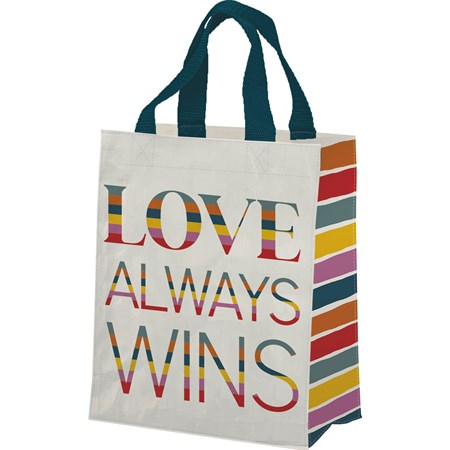 "Daily Tote - Love Always Wins - 8.75"" x 10.25"" x 4.75"" - Post-Consumer Material, Nylon"