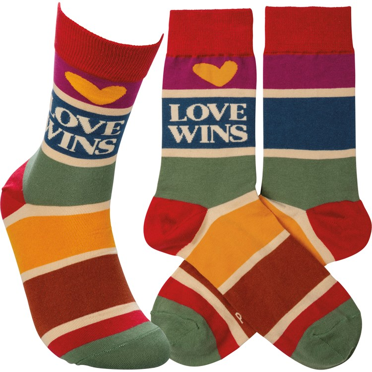 Socks - Love Wins - One Size Fits Most - Cotton, Nylon, Spandex
