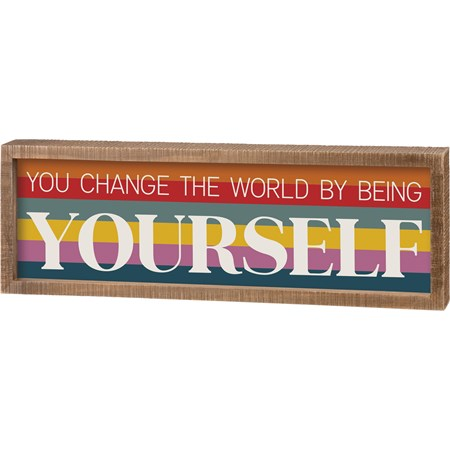 "Inset Box Sign - By Being Yourself - 16"" x 5.50"" x 1.75"" - Wood"