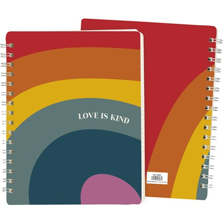 "Spiral Notebook - Love Is Kind - 7"" x 9"" x 0.50"" - Paper, Metal"
