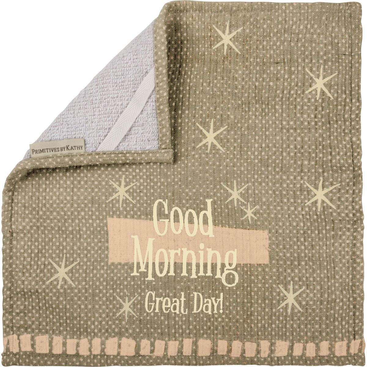 "Washcloth - Good Morning - 13"" x 13"" - Cotton, Terrycloth"